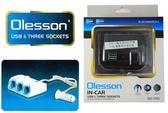 【吉特汽車百貨】Olesson 120W 3孔雙USB 電源擴充座 點菸器擴充 開關設計 手機充電 蘋果HTC 三星