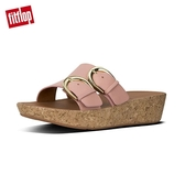 【FitFlop】軟木塞皮革雙扣環雙帶式涼鞋(灰粉色)