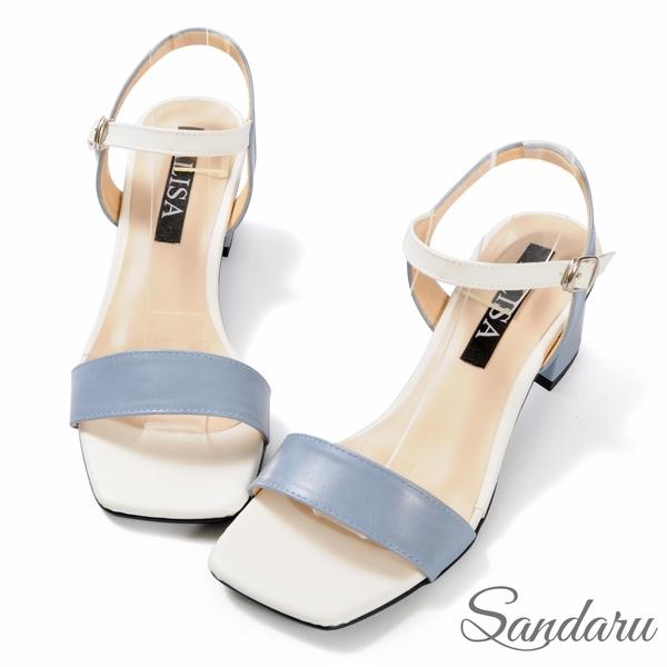 涼鞋 質感撞色一字方頭繫踝粗跟鞋-藍