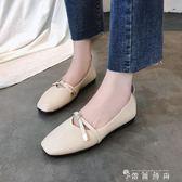 方頭復古奶奶鞋淺口百搭平底單鞋一腳蹬懶人鞋  薔薇時尚