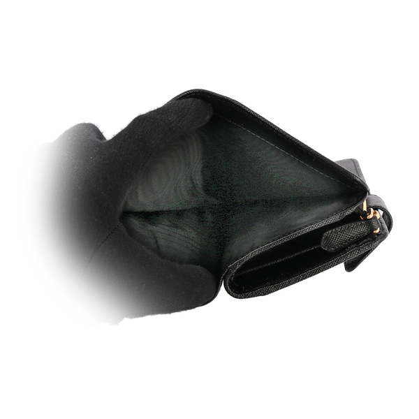 【PRADA】三角牌logo二折防刮牛皮零錢袋中夾(黑色) 1ML225 QHH F0002