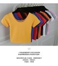 【88】韓版純棉 緊身 露臍 短袖 女士T恤 修身 高腰 短款上衣(多色可選S-L)