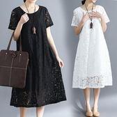中大呎碼 大碼洋氣洋裝顯瘦胖妹妹寬鬆減齡遮肚子時髦中長裙新款夏裝