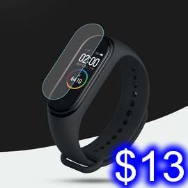 小米手環4 螢幕保護貼膜 小米手環4代 螢幕保護膜 高清 手錶軟膜(易撕款)無開孔一片帶包裝