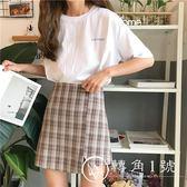 女款夏短裙韓版寬松高腰格子修身百搭開叉A字裙半身裙潮2018新款