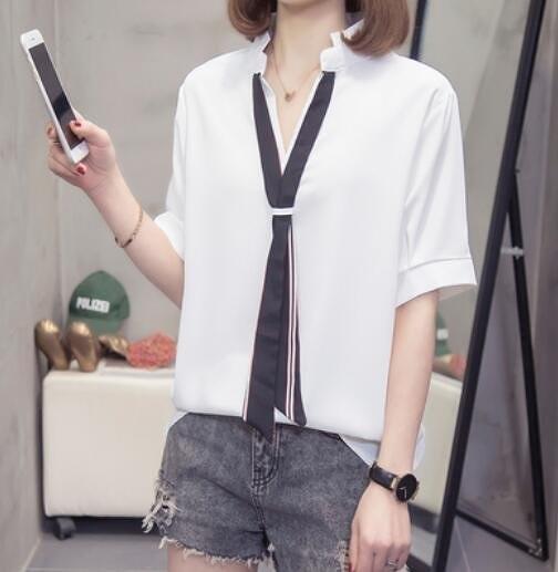 襯衣上衣寬鬆V領中大尺碼XL-4XL大碼女裝胖MM寬鬆遮肉雪紡衫短袖襯衫5F026-2259.一號公館