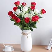 仿真花束 仿真玫瑰花客廳裝飾情人節花束餐桌單支假花干花擺件塑料插花擺設【快速出貨】