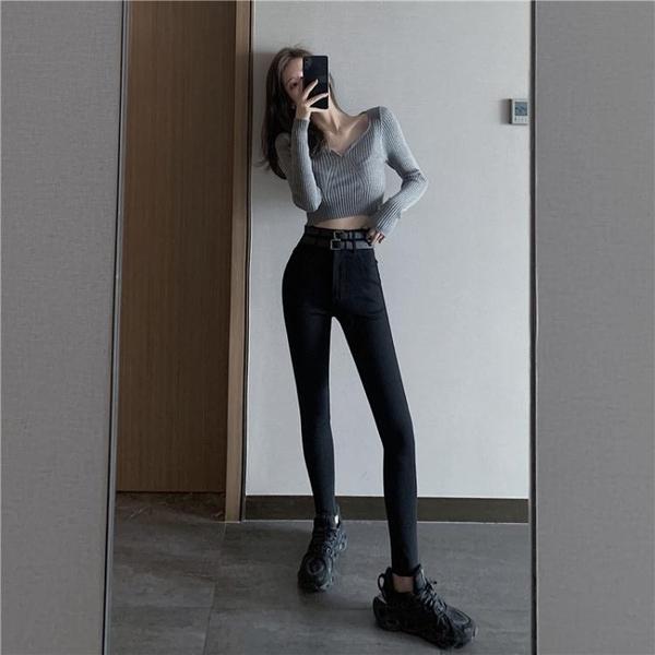 窄管褲 百搭緊身高腰彈力牛仔褲女士春秋季新款顯瘦小腳鉛筆褲黑色長褲子 奇妙商鋪