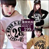 克妹Ke-Mei【AT49766】LPOANRDIOS 28歐美妞字母圓印刷毛寬鬆T恤洋裝