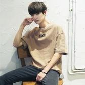 夏季短袖t恤男韓版潮流學生寬鬆個性五分袖日系百搭5分半袖上衣服 ☸mousika