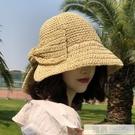 夏防曬帽子遮臉太陽帽遮陽海邊沙灘帽大帽檐...