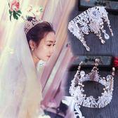 圓皇冠頭飾新娘水晶復古攝影歐美生日大氣韓式結婚王冠  檸檬衣舍