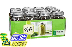 [106美國直購] Ball Wide Mouth Quart(32OZ)Jars with Lids and Bands,Set of 12