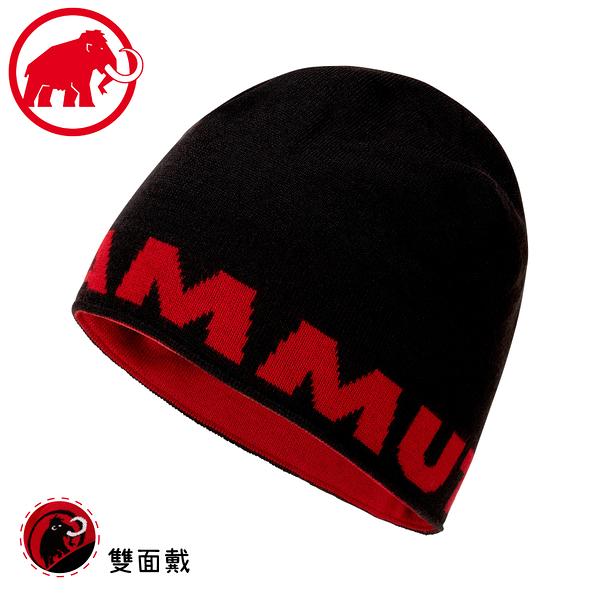 【MAMMUT 長毛象 Logo Beanie 針織保暖羊毛帽《黑》】1191-04891/毛線帽/禦寒帽/登山/滑雪/雙面戴