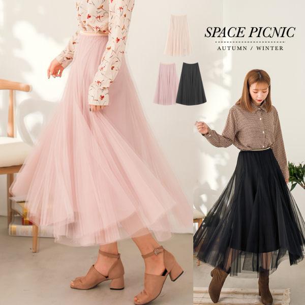 紗裙 Space Picnic|現貨.金邊素色雙層長紗裙【C17123079】