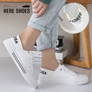 [Here Shoes]3cm休閒鞋 休閒百搭後踩腳設計 皮革厚底假綁帶圓頭包鞋 小白鞋-KWT06