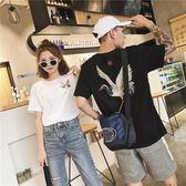 情侶裝夏裝仙鶴刺繡新款短袖T恤韓版氣質半袖寬鬆  居家物語