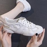 軟皮軟底夏季小白鞋女透氣低筒舒服百搭平底防滑牛皮網布休閒板鞋 青木鋪子