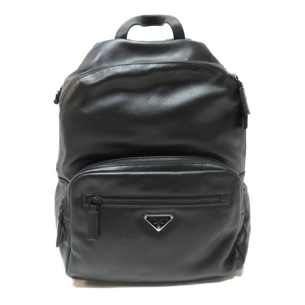 PRADA 普拉達 黑色牛皮後背包 Backpack Rucksack 2VZ066【二手名牌 BRAND OFF】