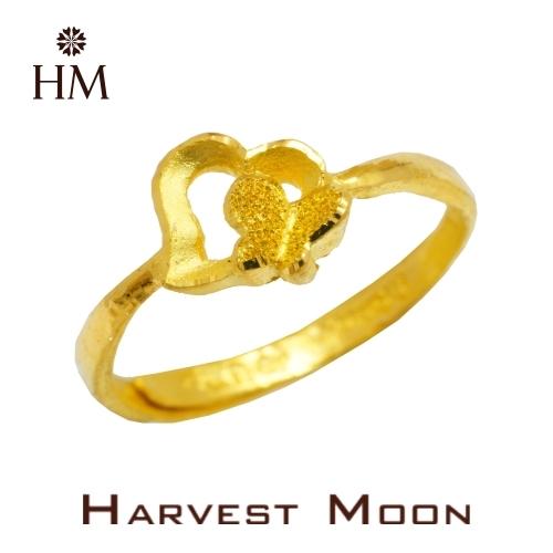 Harvest Moon 富家精品 黃金尾戒 愛心蝴蝶 9999 純金金飾 女尾戒子 黃金戒指 可調式戒圍 GR02825