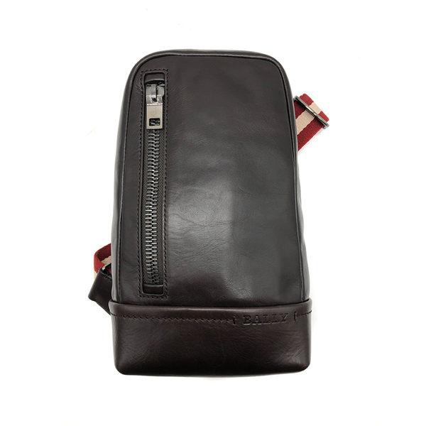 【台中米蘭站】全新品 BALLY  TANIS 經典黑白織帶小牛皮胸口斜背包 (6214324-咖)