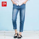 JJLKIDS 女童 亮鑽破損感牛仔褲(牛仔藍)