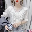 拼接襯衫 2021夏季新款蕾絲拼接荷葉邊v領短袖甜美洋氣襯衫女法式小衫上衣【618 狂歡】