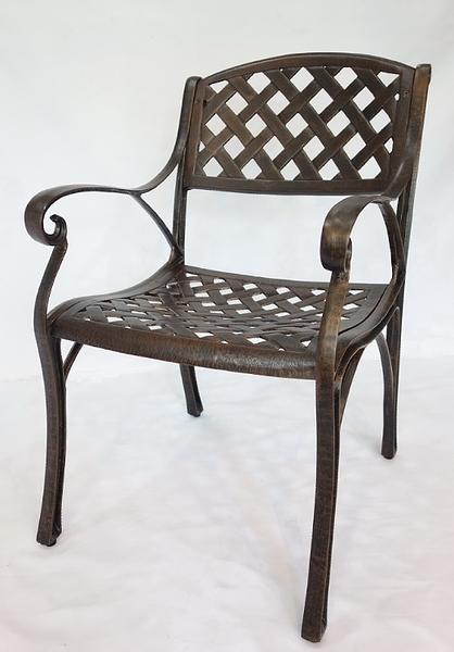 【南洋風休閒傢俱】戶外休閒桌椅系列- 編織格子扶手椅 戶外休閒鋁合金餐椅 (#300)