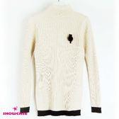 【SHOWCASE】袖襬配色長版針織上衣(米色)