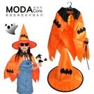 【摩達客】萬聖節派對道具-蝙蝠披風(橘色)+帽子+手杖三件組合