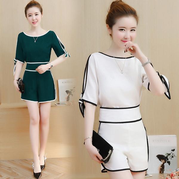 絕版出清 韓國風純色線條設計感露肩高腰顯瘦休閒短褲套裝短袖褲裝