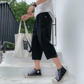 港風棉麻休閒褲男韓版潮流休閒直筒褲子ins原宿風學生百搭七分褲