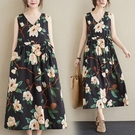 洋裝 棉麻印花無袖洋裝夏季寬鬆V領遮肚顯瘦收腰抽繩苧麻背心長裙女-Ballet朵朵