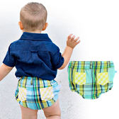 男童短褲/ 英倫風 / 黃綠格紋小短褲 美國RuggedButts