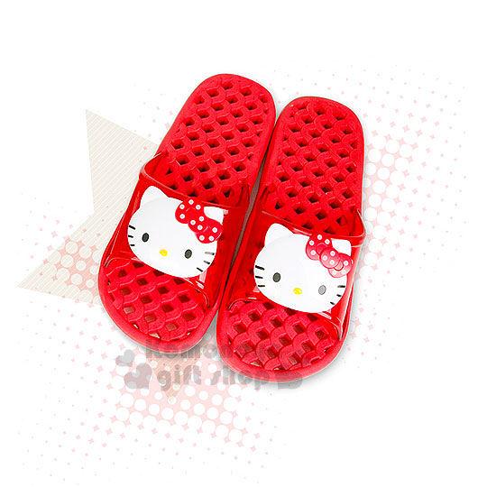 〔小禮堂韓國館〕Hello Kitty 浴室拖鞋《大.紅.透明.2D.大臉》格子鏤空設計 8805830-07042