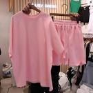 休閒減齡套裝女夏新款寬鬆韓版短袖上衣闊腿褲跑步運動洋氣兩件套
