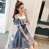 洋裝—少女新款夏裝連身裙中學生韓版學院風俏皮露肩寬鬆中長款裙子 草莓妞妞