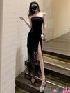 熱賣抹胸洋裝 格格家 夏季名媛性感禮服中長裙修身拼蕾絲抹胸開叉顯瘦連身裙女【618 狂歡】