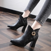 馬丁靴女高跟鞋尖頭2020秋冬新款韓版媽媽鞋粗跟時尚短靴百搭裸靴 後街五號
