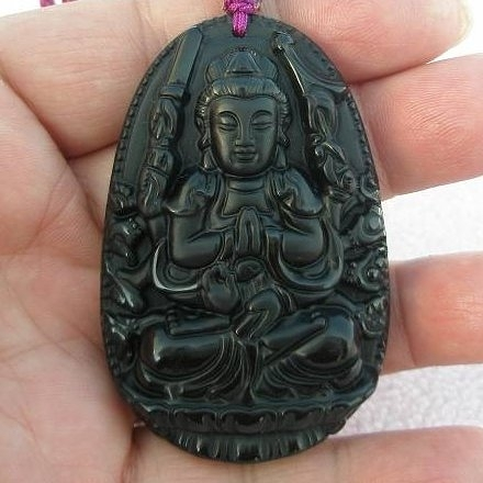 【歡喜心珠寶】【大尊千手觀音雕像墜子】天然黑曜岩雕「附保証書」生肖屬鼠年生之人守護神
