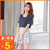 OrangeBear《AB2178》素色立體蝴蝶結挖洞設計棉感圓領上衣.7色--適 XL~5L