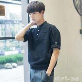 夏季韓版修身小清新7七分袖襯衫潮流短袖襯衣服男帥氣百搭五分袖 「潔思米」