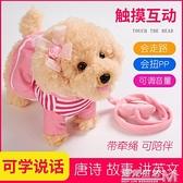 兒童玩具狗狗走路會唱歌仿真泰迪狗毛絨電動會說話的牽繩機器小狗