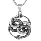 《QBOX 》FASHION 飾品【CP0677】精緻個性歐美雙蛇環結圈鑄造鈦鋼墬子項鍊/掛飾