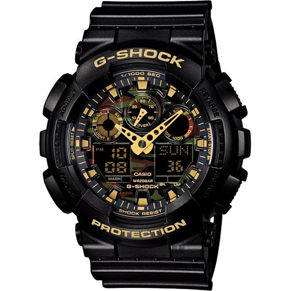 CASIO 卡西歐 G-SHOCK 迷彩叢林雙顯錶 GA-100CF-1A9DR / GA-100CF-1A9