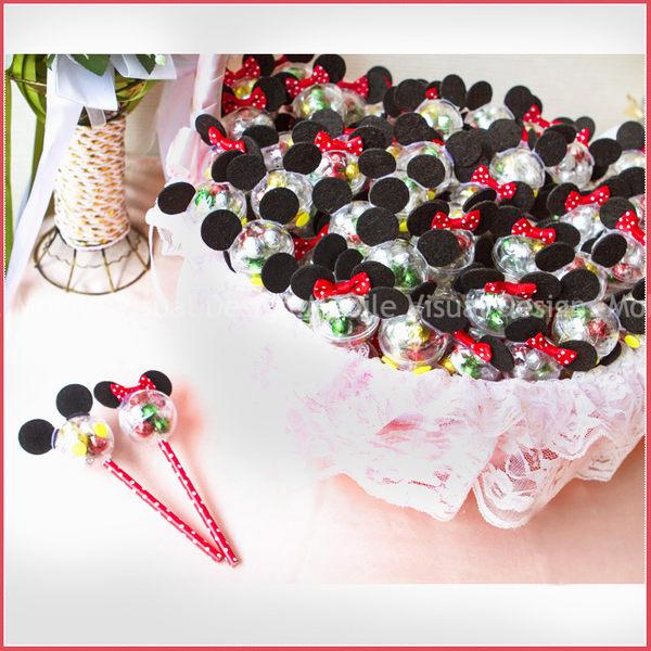 米奇米妮七彩巧克力球糖棒X100支+大提籃X1個-情人節聖誕節 婚禮小物 餐廳民宿活動禮贈品