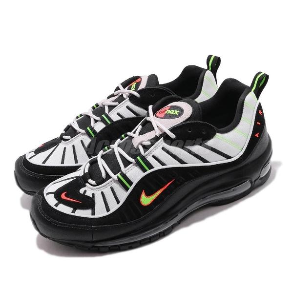 Nike 休閒鞋 Air Max 98 灰 黑 螢光黃 橘 復古慢跑鞋 男鞋 【PUMP306】 640744-015