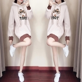 韓版寬鬆連帽衛衣女中長款裙加絨加厚款ins潮外套 三角衣櫃