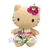 〔小禮堂〕Hello Kitty x Iolani 絨毛娃娃《S.棕.夏威夷風.扶桑花.粉洋裝》65周年天堂鳥系列654699-72977