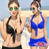 眾夏新品 二件式泳裝 黑/藍 鋼圈兩件式比基尼泳裝泳衣M~XL 溫泉SPA泡湯 天使甜心Angel Honey